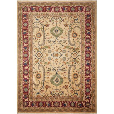 Ankara Aiganim Hand Knotted Wool Beige Area Rug Rug Size: Rectangle 97 x 134