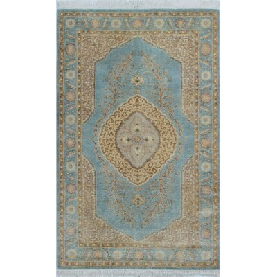 Ankara Hand Knotted Wool Light Blue Area Rug Rug Size: Rectangle 31 x 52