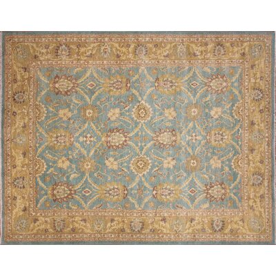 One-of-a-Kind Arthen Hand-Knotted Light Blue Premium Wool Area Rug