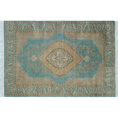 Ankara Sarvinos Hand Knotted Wool Light Blue Area Rug Rug Size: Rectangle 41 x 6