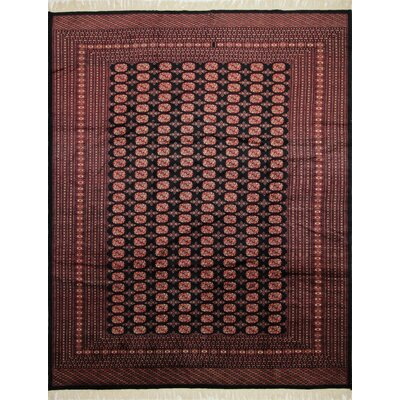 One-of-a-Kind Bokara Fine Madni Hand-Knotted Black Area Rug