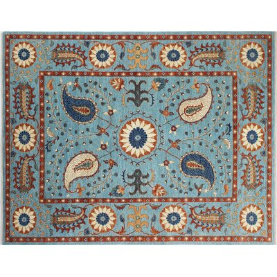 Chobi Fine Nazim Hand-Knotted Light Blue Area Rug