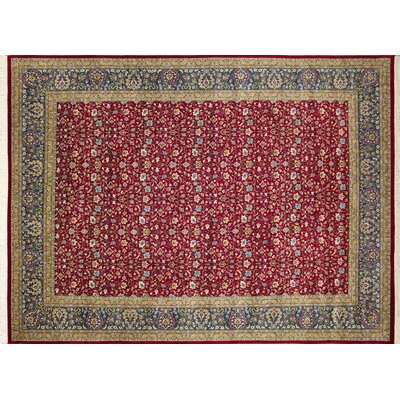 Arthen Hand-Knotted Rectangle Red Area Rug