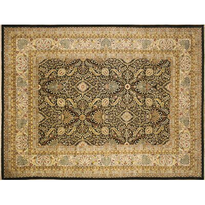 Arthen Hand-Knotted Dark Green Area Rug