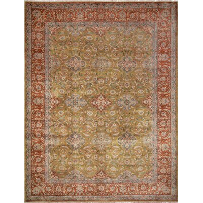 Ankara Abdul Hand Knotted Wool Gold Area Rug Rug Size: Rectangle 103 x 134