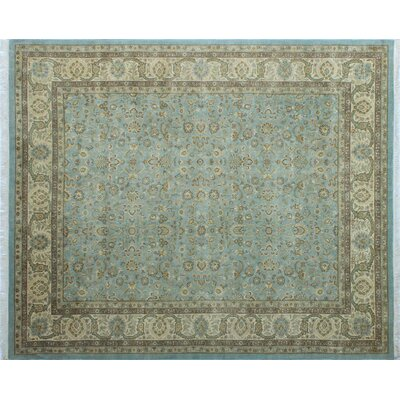 Arthen Hand-Knotted Rectangle Light Blue Area Rug