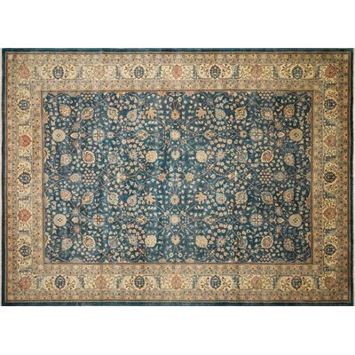Ankara Jansulu Hand Knotted Wool Teal Blue Area Rug Rug Size: Rectangle 101 x 1311