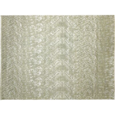 One-of-a-Kind Indo Modern Jaouad Hand-Knotted Light Green Area Rug