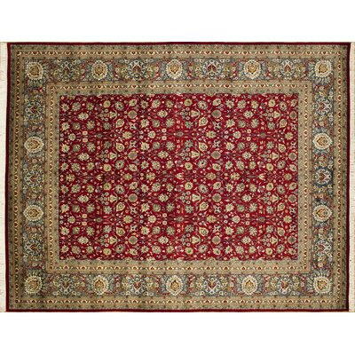 Arthen Hand-Knotted Rectangle Red Fringe Area Rug