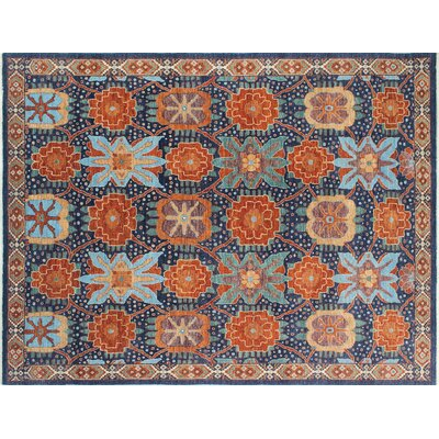 One-of-a-Kind Chobi Fine Nurai Hand-Knotted Blue Area Rug
