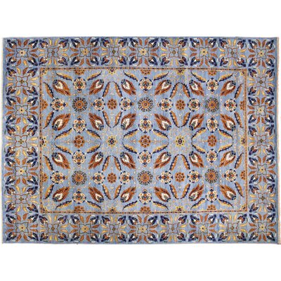 One-of-a-Kind Choubi Fine Bahadur Hand-Knotted Light Blue Area Rug