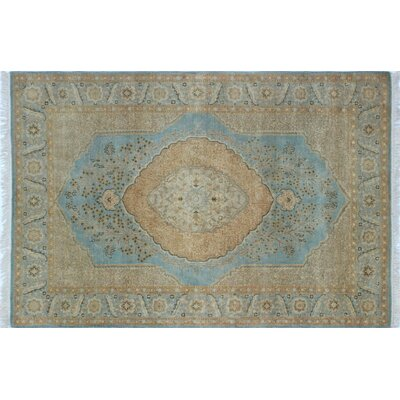 Arthen Hand-Knotted Light Blue Premium Wool Fringe Area Rug