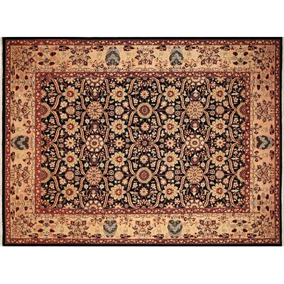 Ankara Gulzada Hand Knotted Wool Black Area Rug Rug Size: Rectangle 101 x 132