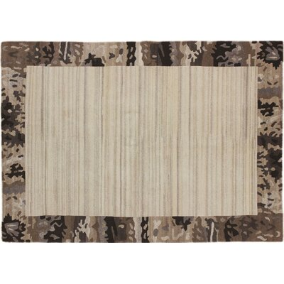 One-of-a-Kind Indo Modern Niga Hand-Knotted Beige Area Rug