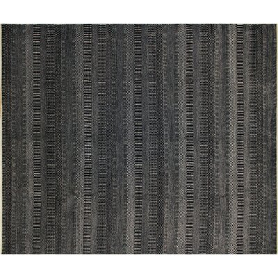One-of-a-Kind Grass Fine Noor Hand-Knotted Black Area Rug