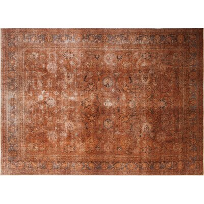 One-of-a-Kind Distressed Fattah Hand-Knotted Orange Area Rug