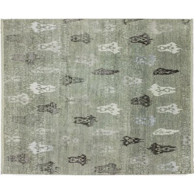 Bellview Oriental Hand-Knotted Green Area Rug