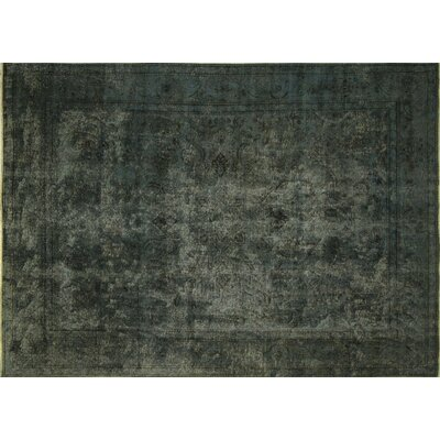Distressed Farooq Hand-Knotted Teal Green Area Rug