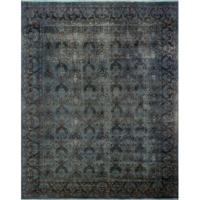 One-of-a-Kind Distressed Overdyed Akhfash Hand-Knotted Gray Area Rug