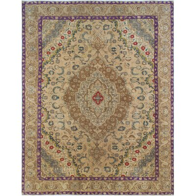 Distressed Overdyed Baqi Hand-Knotted Beige Area Rug