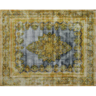 Distressed Hafiz Hand-Knotted Blue Area Rug