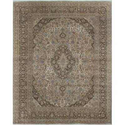 Distressed Overdyed Amin Hand-Knotted Beige Area Rug