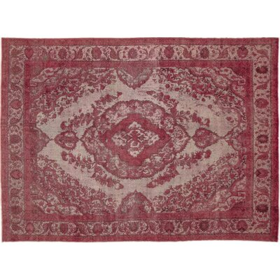 Distressed Mahnaz Hand-Knotted Rose Area Rug