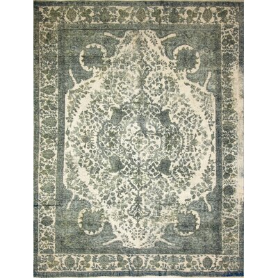 One-of-a-Kind Distressed Etel Hand-Knotted Green Area Rug