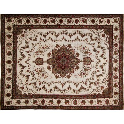 Distressed Kelsi Hand-Knotted Ivory Area Rug