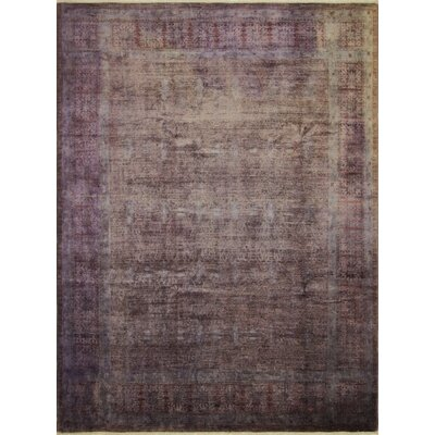 One-of-a-Kind Distressed Overdyed Moubarak Hand-Knotted Purple Area Rug