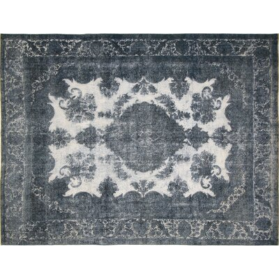 One-of-a-Kind Distressed Kelsey Hand-Knotted Teal Blue Area Rug