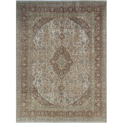 Distressed Asher Hand-Knotted Beige Area Rug