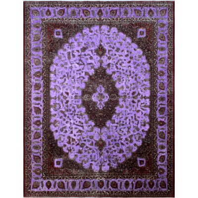 One-of-a-Kind Distressed Overdyed Azaan Hand-Knotted Purple Area Rug