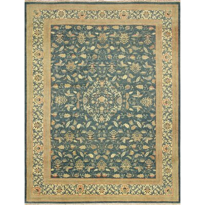 Leann Faded Hand-Knotted Rectangle Teal Blue Area Rug