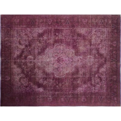 One-of-a-Kind Distressed Inkar Hand-Knotted Purple Area Rug