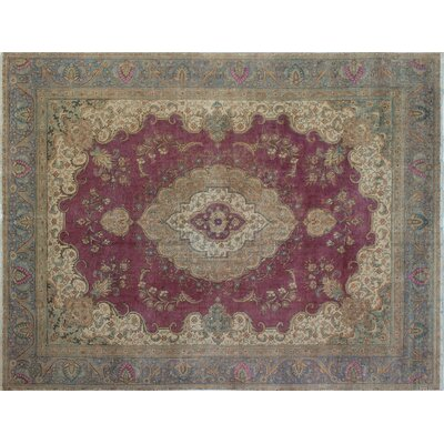One-of-a-Kind Distressed Maajid Hand-Knotted Purple Area Rug