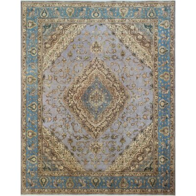 One-of-a-Kind Distressed Overdyed Azraq Hand-Knotted Gray Area Rug