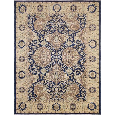Leann Faded Hand-Knotted Blue Wool Area Rug