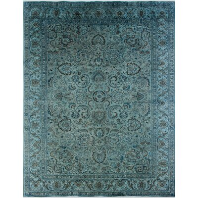 Distressed Overdyed Amam Hand-Knotted Blue Area Rug