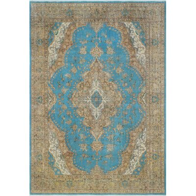 Distressed Overdyed Hamid Hand-Knotted Blue Area Rug