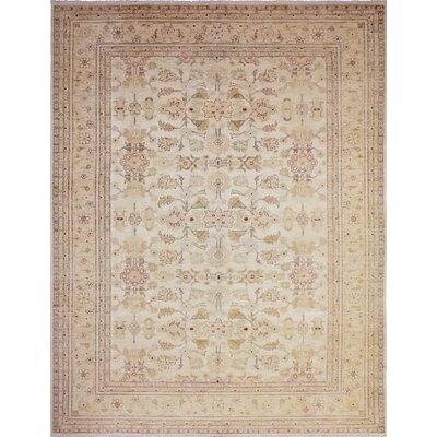 One-of-a-Kind Peshawar Faded Adnan Hand-Knotted Gold Area Rug