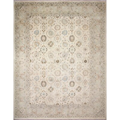 One-of-a-Kind Leann Faded Hand-Knotted Rectangle Ivory Wool Area Rug