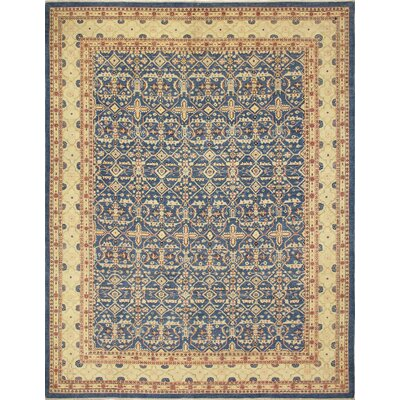 Leann Faded Hand-Knotted Rectangle Blue Area Rug