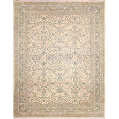 One-of-a-Kind Leann Faded Hand-Knotted Ivory Wool Indoor Area Rug