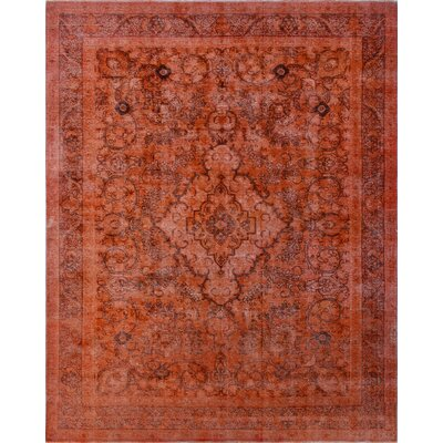 Distressed Overdyed Wakil Hand-Knotted Orange Area Rug