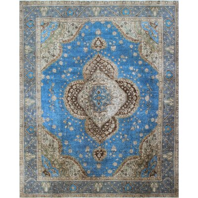 Distressed Overdyed Awn Hand-Knotted Blue Area Rug