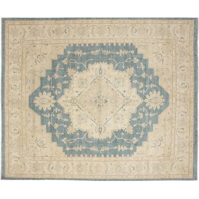 Leann Faded Hand-Knotted Teal Blue Area Rug