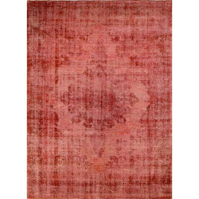 One-of-a-Kind Distressed Overdyed Shafi Hand-Knotted Red Area Rug