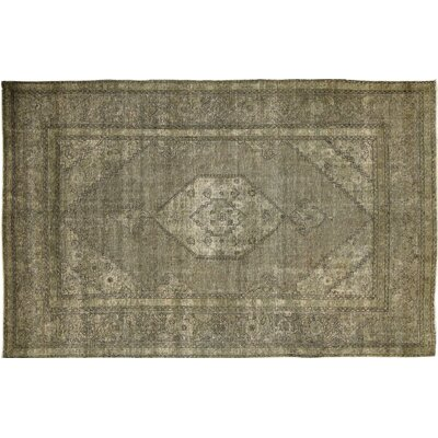 Distressed Overdyed Yasmine Hand-Knotted Green Area Rug