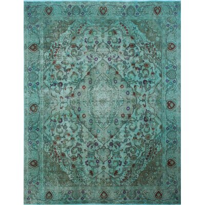 Distressed Overdyed Muhyee Hand-Knotted Green Area Rug